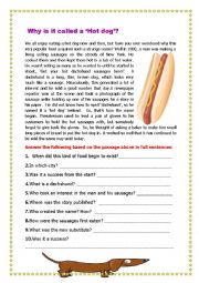 English Worksheet: Why is it called a ´Hot Dog´?