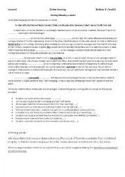 English Worksheet: argumentative paragraph
