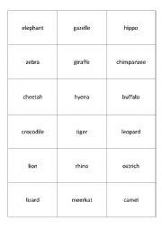 English Worksheet: memory african animals