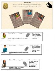 English Worksheet: Detective - conversation card Part 3