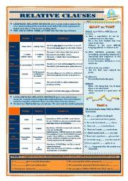 English Worksheet: RELATIVE CLAUSES