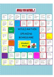 English Worksheet: Would you rather....?  Speaking board game