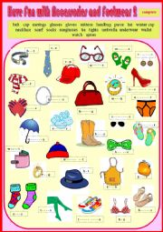 English Worksheet: Vocab - Have Fun with Accessories and Footwear 2