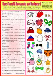 English Worksheet: Vocab - Have Fun with Accessories and Footwear 3