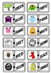 English Worksheet: Colours - A domino game