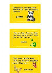 English Worksheet: Animal Activity Cards