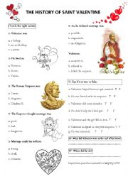 English Worksheet: the history of Saint Valentine