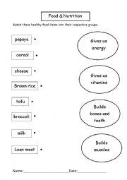 English Worksheet: Healthy Food Groups