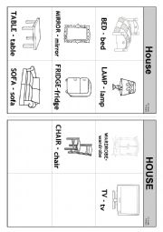English Worksheet: Objects in a house Flashcards