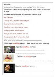 English Worksheet: Elephant Poem