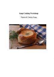 English Worksheet: Potato and Chorizo Soup - a cooking verbs gap fill