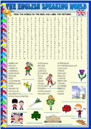 English Worksheet: The English Speaking world: wordsearch