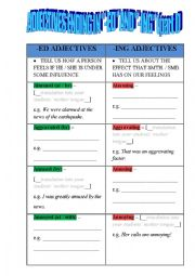 English worksheet: Adjectives that end in