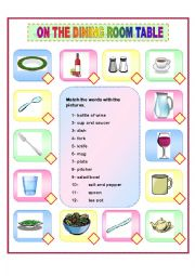 English Worksheet: ON THE DINING ROOM TABLE