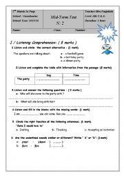 English Worksheet: mid-term test 2