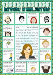 English Worksheet: Back to School!  My Name Is...What´s Yours?