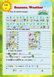 English Worksheet: CRYPTOGRAM. SEASONS, WEATHER- 2 PAGES