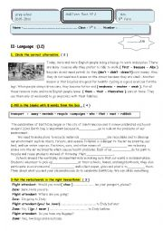 English Worksheet: Mid-term test n� 2 9 th grade