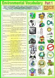 English Worksheet: Voca - Environmental Vocabulary. Part 1. Pictionary + matching definitions + KEY
