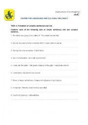 English Worksheet: Complex Sentences