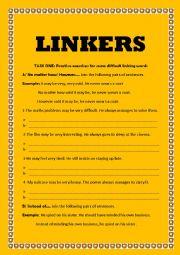 English Worksheet: linkers
