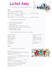 English Worksheet: Song: Locked Away - Conditional 2