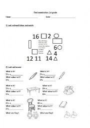 English Worksheet: final examination