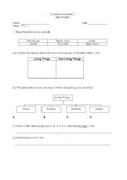 english worksheets classification of living and non living things. Black Bedroom Furniture Sets. Home Design Ideas