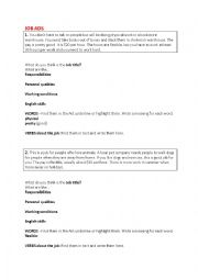 English Worksheet: Job ads - What�s the job?