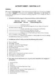 English Worksheet: Writing a CV