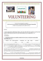 English Worksheet: Teens and Volunteering - Key is provided
