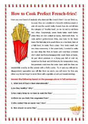 English Worksheet: How to Cook the Perfect French Fries!