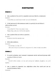 English Worksheet: Punctuation Rules (Theory and practice)