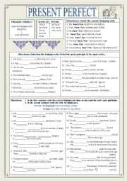 English worksheet: Present Perfect, Helping Verbs, & Simple Past