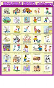 English Worksheet: household chores: new updated pictionary