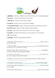 English Worksheet: GOLF IDIOMS