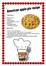 English Worksheet: AMERICAN APPLE PIE RECIPE