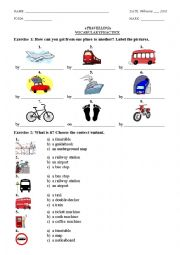 English Worksheet: Travelling (Vocabulary & Grammar Practice)