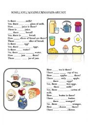 English Worksheet: SOME-ANY-A-AN-MUCH-MANY-IS-ARE-NOT