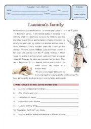 English Worksheet: Written tes on family relationships