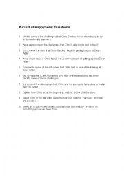 English Worksheet: Pursuit of Happyness