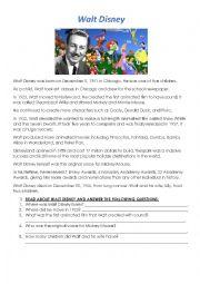 English Worksheet: Walt Disney