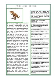 English Worksheet: The king of the dinosaurs