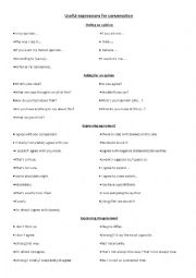 English Worksheet: Useful expressions for speaking (FCE, CAE)