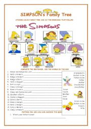 English Worksheet: Family Tree - The Simpsons