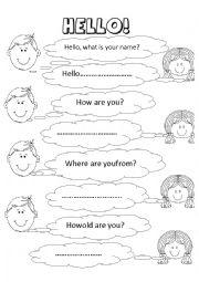 English Worksheet: hello