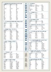 English worksheet: Irregular Verbs Grammar Guide