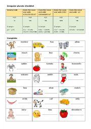 English Worksheet: Irregular Plurals 1