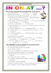 English Worksheet: GRAMMAR REVISION - prepositions in on at