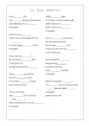English Worksheets: Elvis Presley - In the Ghetto